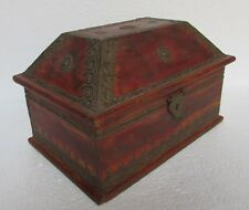 Vintage Hand Carved Brass Worked Unique Shape Wooden Box, Collectible
