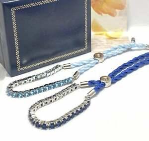 18k White Gold Overlay 3.50ct Sapphire & Topaz Lot of 2 Bracelets