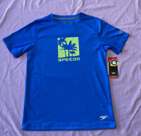Speedo Boys' Palm Trees Graphic Short Sleeve Swim Rash Guard Shirt Size L(14/16)