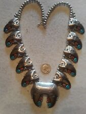 """NAVAJO BETTY ETSATE Squash Blossom Necklace Turquoise Claws Sterling  HUGE 27"""""""