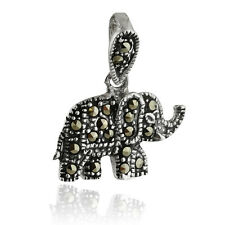 Marcasite Elephant Pendant - 925 Sterling Silver - Elephants Animal Zoo NEW