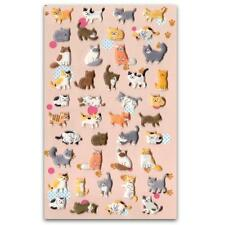 CUTE CAT STICKERS Kitty Raised Puffy Vinyl Sticker Sheet Craft Scrapbook Kawaii