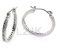 Silver,Gold,Black CZ Hoop Earrings 16mm 19mm 22mm Small,Medium,Big