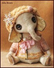 Ready to Ship Alla Bears artist Ooak elephant modern office home decor pink cute