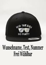 Snapback Cap No Messi No Party Motiv Fun Hat Mütze Baseball Malle Wunschname New