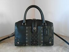 New COACH 55634 MERCER 24 with BANDANA RIVETS Leather Satchel $395 BLACK