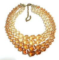 Vintage West Germany Lucite Bead Multi-strand Necklace Graduated Size and Color