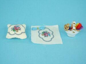 Dollhouse Miniature Reutter Porcelain Embroidery Pillow Sewing Set