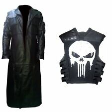 The Punisher Frank Castle Jane Leather Trench Coat & Vest Costume | All SIzes