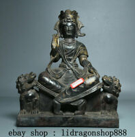 """9,2"""" Antique Chine Bronze Kwan-Yin Guan Yin Boddhisattva Déesse Lion Dog Statue"""