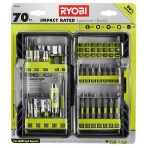 RYOBI Impact Rated Driving Kit Assorted Screwdriver Bit Set Bi-Metal 70 Piece
