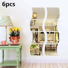 6Pcs Wave Reflective Self-adhesive Mirror Mosaic Tile Wall Stickers Home Room FE