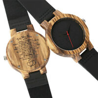 Engarved Wooden Watch for Family Lover Bamboo Wood Quartz Watches Leather Band