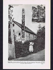 Totem Pole - In front of Indian home in Wrangell, Alaska - 1937 Image of History