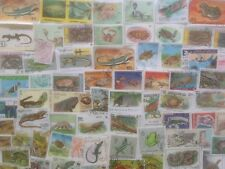 200 Different Reptiles/Amphibians on Stamps Collection