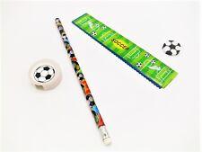 10x Schreibset Fußball Lineal Bleistift Spitzer Mitgebsel Kindergeburtstag Neu