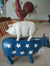 PIER 1 4th of July Patriotic Stacked Farm Animal Kitchen Figure Cow Pig Rooster