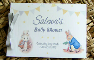 PERSONALISED PETER RABBIT - YELLOW & GREY - CHRISTENING - BABY SHOWER GUEST BOOK