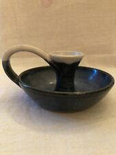 Studio Art Pottery Blue And White Candlestick Holder With Handle