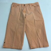 Christopher & Banks Stretch Denim Bermuda Shorts Women's 12 Orange Flat Front