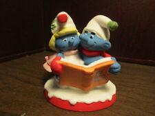 Vintage Smurf Carolers Christmas Collectibles Ceramic Figurine 1982