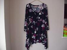 WOMAN WITHIN PLUS SIZE 2X(26/28)DRESSY NAVY BLUE FLORAL PULLOVER TUNIC TOP NIP