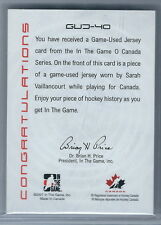 2007-2008 ITG O Canada Sarah Vaillancourt Game Used  Canada Jersey Card