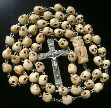 VINTAGE TIBET OXEN BONE SKULL BEADS OWL ROSARY CATHOLIC NECKLACE ITALY CROSS BOX