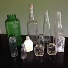 11 Antique/Vintage Green Glass Water/Juice/Old Spice/Liquor/Medicine Bottles