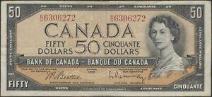 1954 $50 Dollar Canada Bill - (Beattie/Rasminsky) # BH 6306272