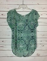 Cabi Women's Size XS Extra Small Green Snake Print Cute Spring Summer Top Blouse
