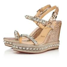 Christian Louboutin Pyradiams 110 Silver Liege Platform Wedge Sandal Heel 38