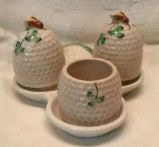 Occupied Japan Beehive Clover Salt Pepper W/ Mustard Jam Pot Figural Set Bee