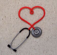 Stethoscope - Red Heart Medical/Doctor/Nurse Iron on Applique/Embroidered Patch