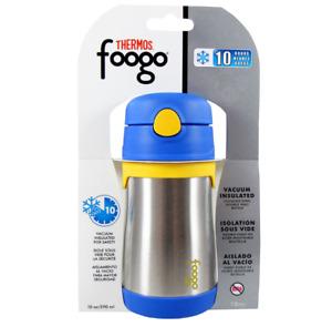 NIP THERMOS BS535BL003 10-OZ STAINLESS STEEL FOOGO LEAK-PROOF STRAW BOTTLE BLUE