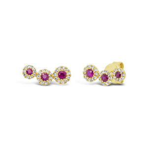 0.40 tcw 14k Yellow Gold Natural Real Round Ruby Diamond 3 Stone Stud Earrings