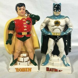 Vintage Batman and Robin Ceramic Statues Set of 2 Banks 1966 Lego Japan Rare