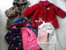 NICE NEXT M&S GEORGE AUTUMN WINTER 4x BUNDLE GIRL JACKETS FUR HAT 3/4 YRS (1.8)