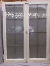 Pair Antique Casement Leaded Windows Cabinet Cupboard Door Bookcase Vtg 478-17R