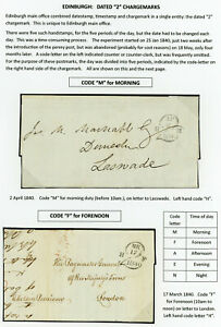 """SCOTLAND RARE 1840 COMPLETE SET EDINBURGH DATED """"2"""" CHARGEMARKS ON 5 COVERS"""