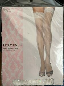 Leg Avenue Sheer Thigh Highs With Beaded Lace Top Ivory One Size Fits Most