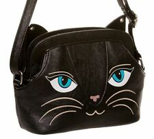 Banned Black Kitty Face Cat Bag Handbag Purse Faux Leather New Gift Cute Goth