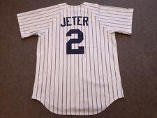 VTG Majestic New York Yankees #2 Derek Jeter Baseball Jersey Shirt White Medium