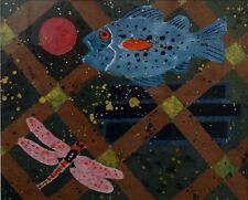 """Superb """"Dragonfly, Fish and Trellis"""" Watercolour Signed 1999 William Littlejohn"""