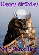 Owl hs223 Hello Sailor Fun Cute Personalised Happy Birthday Greetings Card