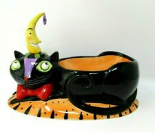 Dept 56 Time To Celebrate Halloween Black Cat Candy Serving Cheese Dish