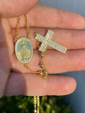 Rosario Bañado En Oro 14k Colgante Chapado En Diamantes Sobre Plata 925 Solida