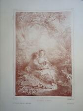 D'AP. F.BOUCHER 1703-1770 LITHO XIX° SANGUINE AMOUR CHAMPETRE ROMANTIQUE ROCOCO