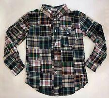 Hatley Boys Boutique Madras Plaid size 7 button down Long Sleeve shirt