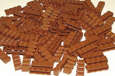 LEGO LOT OF 100 NEW REDDISH BROWN 1 X 4 FORT WALL PALISADE LOG BRICKS PIECES